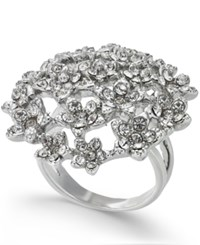 Inc International Concepts I.N.C. Silver Tone Crystal Cluster Flower Statement Ring Created For Macy's Rhodium Crystal