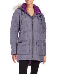 Columbia Faux Fur Trimmed Omni Heat Insulated Down Coat Ebony Blue