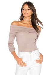 Michael Stars Shine Off Shoulder Top Taupe