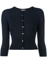 N.Peal Cashmere Button Up Cardigan Blue