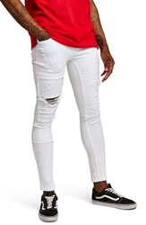 Topman Spray On Skinny Fit Ripped Jeans White