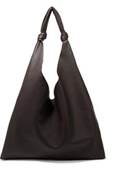The Row Bindle Textured Leather Shoulder Bag Dark Brown