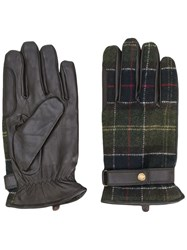 Barbour Checked Gloves Green