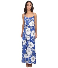 Gabriella Rocha Floral Maxi Dress Royal White Floral Women's Dress Blue
