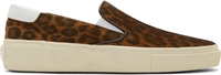 Saint Laurent Brown Leopard Print Slip On Sneakers