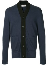 Cerruti 1881 Stripe Trim Cardigan Blue
