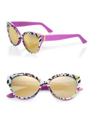 Cutler And Gross Tequila Sunrise 56Mm Cat's Eye Sunglasses Cocktail Print Black