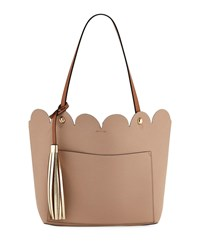 Neiman Marcus Louise Scalloped Tote Bag With Tassel Beige
