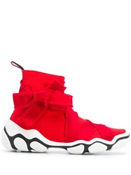 Red Valentino Satin Trim Sneakers Red