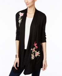 Inc International Concepts Petite Floral Print Draped Cardigan Only At Macy's Deep Black