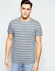 D Struct Jacquard Knit Multi Stripe T Shirt Blue