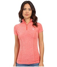 Ariat Odyssey Seamless Short Sleeve Zip Flame Heather Women's Short Sleeve Pullover Red
