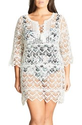 City Chic Plus Size Women's Macrame Caftan Cover Up Tunic