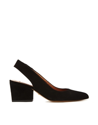 Whistles Annie Slingback Pointed Mid Heeled Court Shoes Black