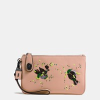Coach Meadowlark Turnlock Wristlet 21 Black Copper Nude Pink