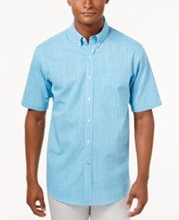 Club Room Men's Micro Check Short Sleeve Shirt Only At Macy's Bay Breeze