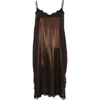 River Island Womens Bronze Metallic Lace Trim Midi Slip Dress