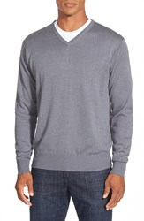 Men's Peter Millar Silk Blend V Neck Sweater Charcoal