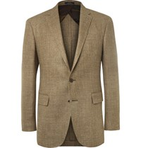 Polo Ralph Lauren Brown Slim Fit Checked Silk Linen And Wool Blend Blazer Brown