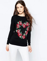 Sugarhill Boutique Lena Love Flowers Intarsia Jumper Black