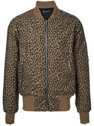Amiri Leopard Print Bomber Jacket Men Cotton L Brown