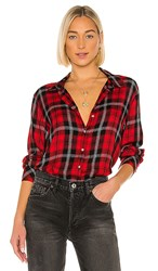 Sanctuary Life Of The Party Boyfriend Button Down In Red. Party Red Plaid