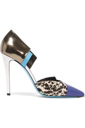 Fendi Anita Color Block Leather And Calf Hair Pumps Blue
