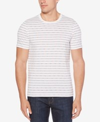 Perry Ellis Striped Cotton T Shirt Bright White