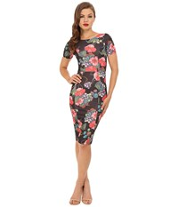 Unique Vintage Short Sleeve Stretch Mod Wiggle Dress Black Floral Women's Dress Multi