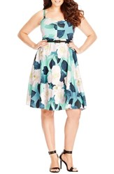 City Chic Plus Size Women's 'Open Rose' Belted Floral Fit And Flare Dress Spearmint