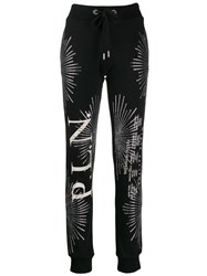 Philipp Plein Embellished Track Trousers Black