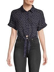 Lucca Couture Vera Polka Dot Cotton Button Down Shirt Navy