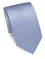 Saks Fifth Avenue Black Floral And Oval Silk Tie Blue