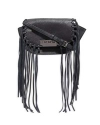 Zac Posen Eartha Iconic Micro Accordion Crossbody W Fringe Black