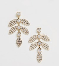 True Decadence Exclusive Gold And Pink Rhinestone Leaf Earrings Gold