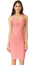 Herve Leger Sleeveless Cocktail Dress Pale Coral