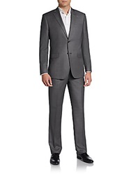 Saks Fifth Avenue Black Regular Fit Crowsfoot Wool Suit Grey