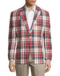 Lauren Ralph Lauren Cotton Plaid Blazer Red White