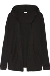 Splendid Waffle Knit Hooded Cardigan Black