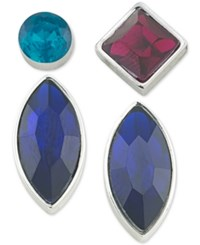 Abs By Allen Schwartz Silver Tone 4 Pc. Mix And Match Earring Set Multi