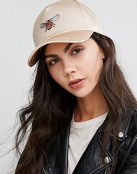 Asos Bee Satin Baseball Cap Gold