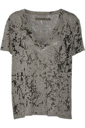 Enza Costa Burnout Jersey T Shirt Gray