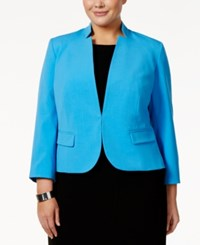 Nine West Plus Size Stand Collar Blazer Malibu Blue
