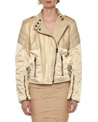 Tom Ford Satin And Leather Biker Jacket Nude