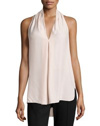 Max Studio Pleated V Neck Tank Pink