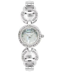 Charter Club Women's Silver Tone Pave Link Bracelet Watch 23Mm Only At Macy's