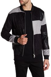 Religion Faux Leather And Suede Colorblock Patch Bomber Jacket Multi
