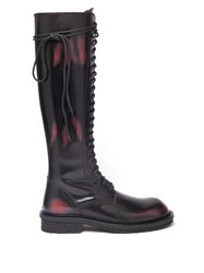 Ann Demeulemeester Knee High Distressed Leather Boots Black Red