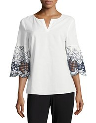 Ivanka Trump Embroidered Floral Three Quarter Sleeved Top Ivory Navy