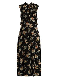 Marni Rustle Print Ruffle Trimmed Silk Dress Black Multi